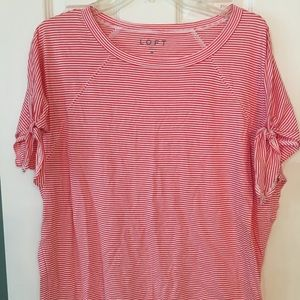 LOFT Red and White Thin Striped Short Sleeve Tee